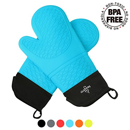 VEEYOO Silicone Blue Oven Mitts Extra-long BPA Free Kitchen Grips Gloves with Non-slip Heat Resistant Cooking Pot Holder Grilling BBQ Baking Oven Fireplace Camping Kitchen for Women and Man by VEEYOO