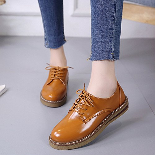T-JULY Womens Fashion Oxfords Shoes - Comfy Platform Low Heel Round Toe Glossy Casual Shoes Brown rJoqN7o