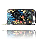 Fly Joys Women RFID Blocking Leather Rose Embossed Credit Card Holder - Minimalist Accordion Wallet Hand-painted color