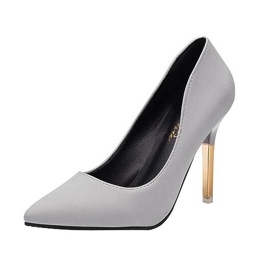 Tacones de mujer Covermason Zapatos de tacón fino de moda Zapatos de tacón bajo de punta estrecha(37 EU, gris): Amazon.es: Ropa y accesorios