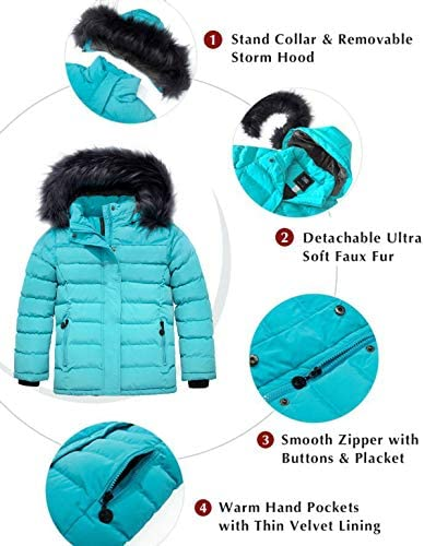 ZSHOW GIRLS' WATER RESISTANT PUFFER JACKET SOFT FLEECE LINED PADDED HOODED WINTER COAT