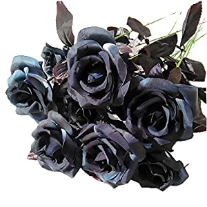 FightingFly 10 Branches Artificial Black Roses Bouquet, Fake Flowers Silk Rose Bouquet for Wedding Home Bridal Party Festival Bar Office Floral Decor 34