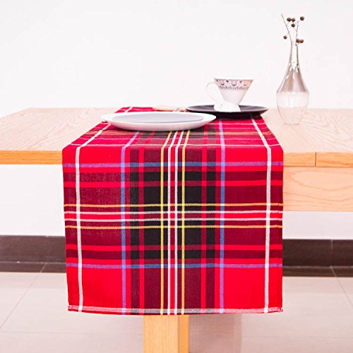 AAYU Brand Scottish Tartan Checkered Table Runner | 14 Inch x 108 Inch | Yarn Dyed Soft Boutique | Red & Black Plaid Table Runner | 250 GSM Fabrics | Table Top Settings for Wedding and Party Decor