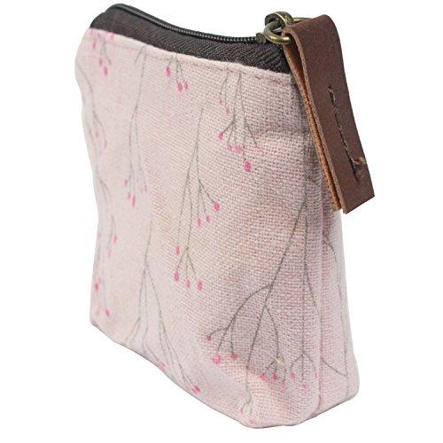 niceEshop(TM) Portable Canvas Flower Coin Purse Pouch Bag Key Case,Light Pink