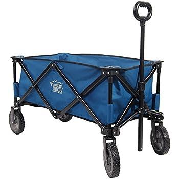 TimberRidge Folding Camping Wagon, Garden Cart, Collapsible, Blue