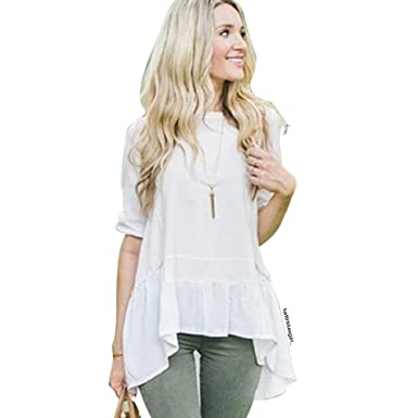 7f3323dbbce5f Chicwish Women s White Ruffle Loose Fit Dolly Shirt Blouse Top with Hi-Lo  Hem