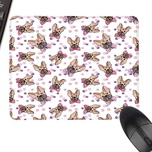 Dog Thicken Mouse Pad Watercolor Portraits of Domestic Pet Animals with Bowties and Dots Natural Rubber Gaming Mouse Mat 23.6
