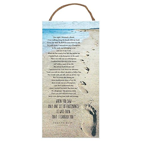 Footprints In the Sand Poem Sand 6 x 12 Wood Jute Hanger Wall Sign Plaque