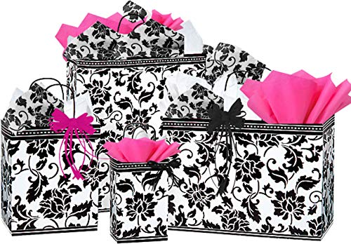 Floral Brocade Glossy Gift Bags Assorted Sizes with Matching Tissue Paper and Raffia Ribbon (Brocade Gift Floral)