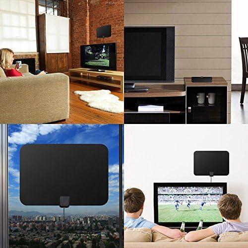 Antena de TV de interior, Lumar Antena de TV de TDT Digital HD amplificada Kit de rango de 50-80 millas Varón a macho Cable atenuador variable Caja de conexiones UK Grupo K