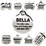 Stainless Steel Pet ID Tags - Engraved Personalized Dog Tags, Cat Tags Front & Back up to 8 Lines of Text - Bone, Round, Heart, Flower, Badge, House, Star, Rectangle, Bow Tie
