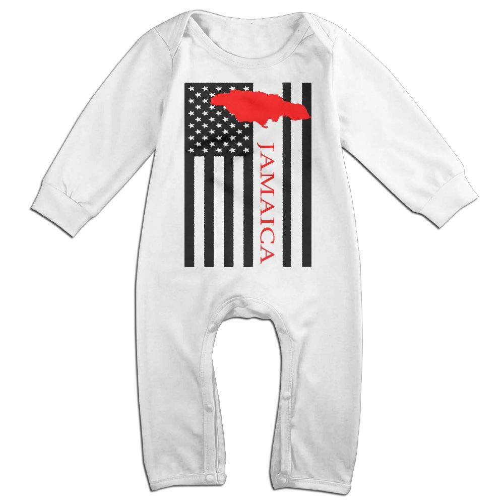 UGFGF-S3 American Flag Jamaica Map Long Sleeve Infant Baby Boy Girl Baby Bodysuit for 6-24 Months Bodysuit