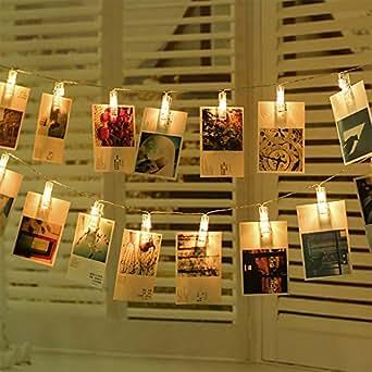 Clip Cadena de Luces LED MAXINDA Foto Clip Cuerda Luces-40LED 5 Metro de 8 Modos Remoto Control para la Decoración Colgante Foto, Notas, Ilustraciones