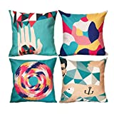 Decorative Pillow Cover - Sykting Pillow Covers for Throw Pillows Set of 4 Home Sofa Decorative Couch Pillow Cases 18 x 18 Cotton Linen