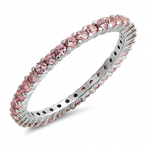 Blue Apple Co. Full Eternity Stackable Wedding Band Ring Simulated Pink Cubic Zirconia 925 Sterling Silver,Size-4