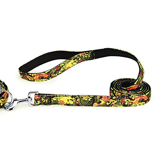 Casual Canine Neoprene Dog Leash, 6-Feet x 1-Inch Lead, Black Floral