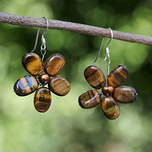 NOVICA Cultured Freshwater Pearl and Tiger s Eye Flower Earrings with Silver Hooks, Paradise