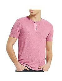 Men's Short Sleeve Henley Shirt Casual 3 Button T Shirts for Men