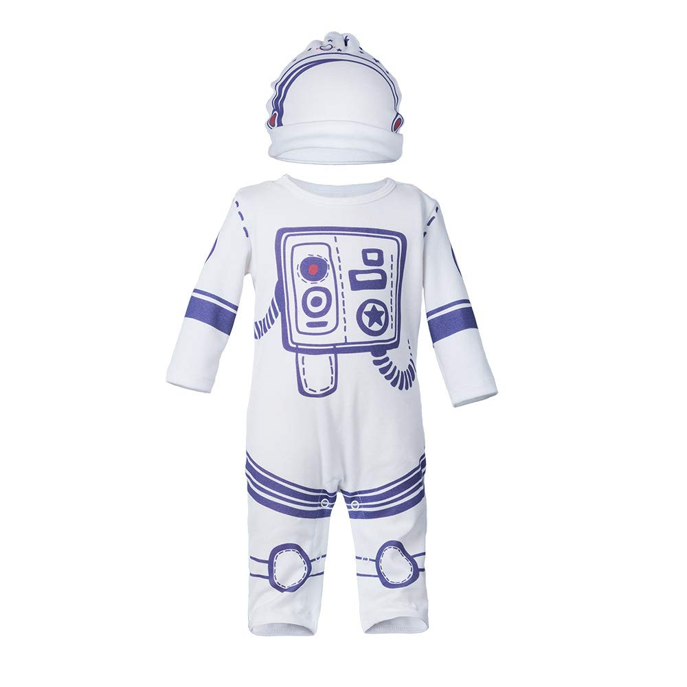 Yukeyy Baby Rompers with Hat Long Sleeve Newborn Jumpsuit Pajama 0-24 Months