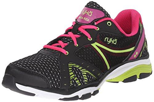 RYKA Women's Vida RZX Cross-Training Shoe, Black/Ryka Pink/Lime Blaze, 10.5 M US