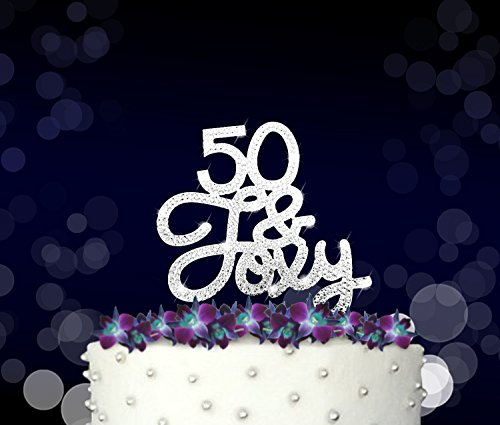 Rhinestone Crystal Cake Topper Silver, Gold Numbers, Letters, Bling Love, Wedding, Birthday, Anniversary ,Sparkles, Shine, Party Decorations Supplies (50 & Foxy (silver))