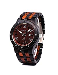 BEWELL Men Business Watch Wood Wristwatches Quartz Movement Round Dial Date Analog Display