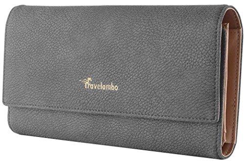 Women Leather Long Wallet (Gray) - 8