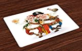 : Pirate Place Mats Set of 4 by Lunarable, Two Drunk Pirates Drinking Holding Each Other Funny Freebooter Corsairs with Weapons, Washable Placemats for Dining Room Kitchen Table Decoration, Multicolor