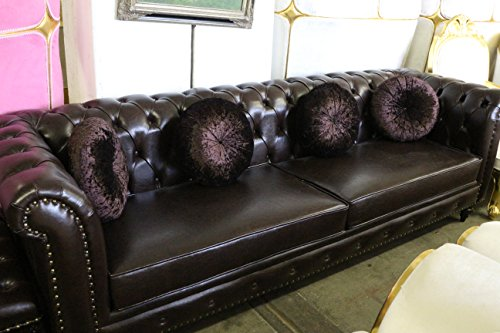 Genuine Leather Dark Brown Chesterfield Sofa – Contemporary Style – Tufted – 104″ Long