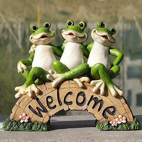 Frog Garden Decor, Welcome Sign Statue for Yard Patio Lawn Funny Fairy Ornaments Outside Figurine Gardening Gifts…