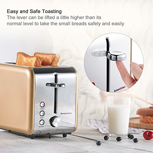 Retro Gold 2 Slice Wide Slot Toaster With Chrome Stainless