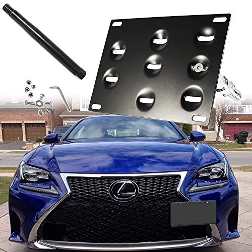 Black Front Tow Hook - Xotic Tech Black Front Tow Hook License Plate Bumper Mount Bracket Holder For Lexus IS CT GS LS RC RX IS-F