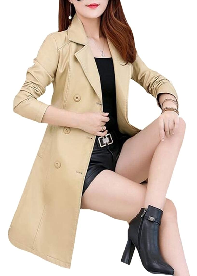 1 Sanderso Women Double Breasted Belted Tailored Lace Trench Coat Jacket