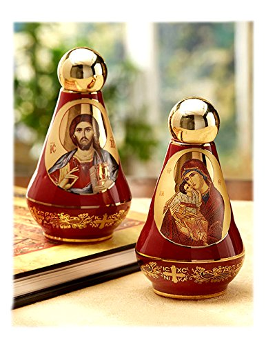 2 Sided Ceramic Holy Water Bottle with Byzantine Greek Icons Christ and Virgin Mary 4 Inch