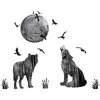 WandSticker4U® - Muursticker wolfFAMILIE uit het bos I wandafbeeldingen: 85 x 70 cm I wanddecoratie maan vogels dieren…