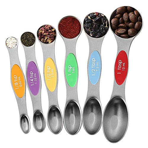 Julance Magnetic Measuring Spoons Set, Stainless Steel, Upgraded Colourful Dual Sided Teaspoon Set, Fits in Spice Jars, Tablespoon Set for Measuring Dry and Liquid Ingredients, Set of 6 (Spoons Measuring Steel Steel Stainless)