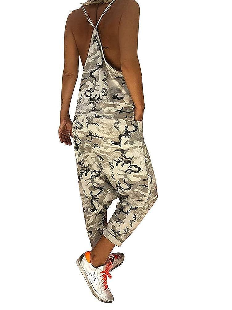 Tomwell Tuta da Donna Elegante Salopette Lunga Moda Camuffamento Tasche Ragazza Overall Baggy Jumpsuit Monopezzi Partito Playsuit