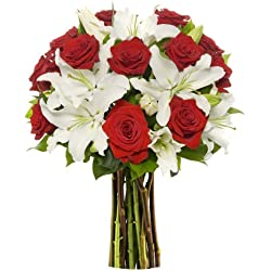 Benchmark Bouquets Roses and Oriental Lilies, for Valentine's Day No Vase