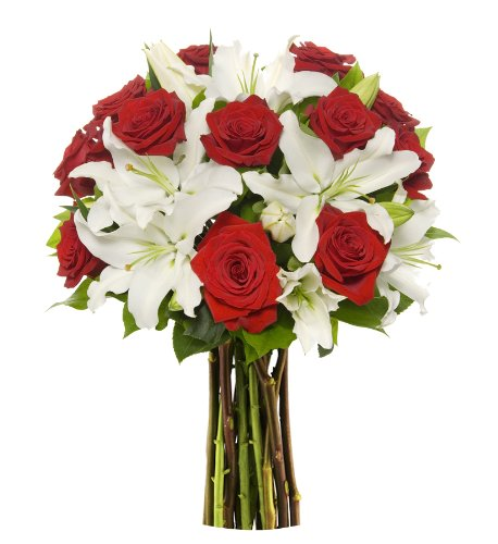 Benchmark Bouquets Red Roses and White Oriental Lilies, No Vase