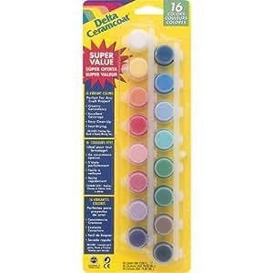 Plaid: Delta Ceramcoat pintura acrílica ollas 16/pkg-vibrant, otros, multicolor