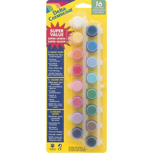Delta Creative Ceramcoat Paint Pot 16-Color Super Value Set, (Mixed Pot)