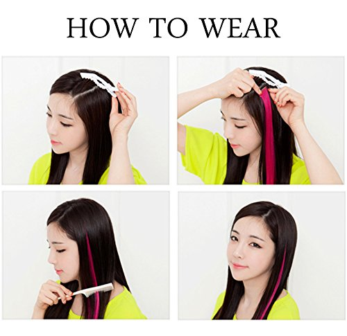 CCW 9PCS Wig Pieces For America Girls and Dolls Clip In/On Colored Hair Extensions(Rainbow Color) by Rhyme (Image #5)