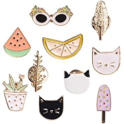 Romanlin Brooch Pin for Women Gold Plated Enamel Lapel Pin Set Mini Badge for Backpack Decor Lemon Cat