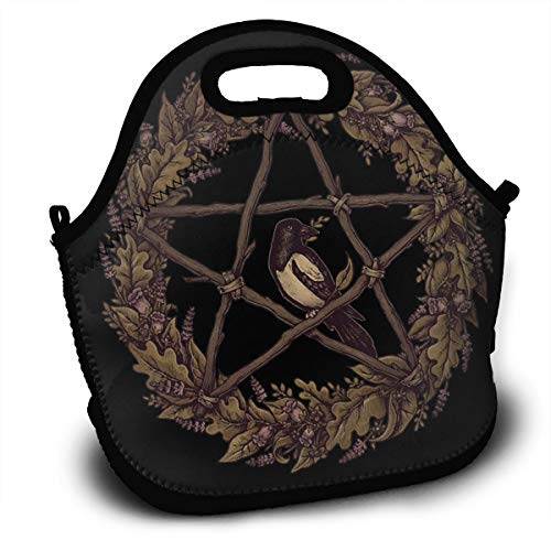 Wild Botanical Pentacle Wreath Witch Reusable Insulated Lunch Bag/Gold Standard for Childrens Fine Neoprene Waterproof Picnic Lunch Boxes Tote Bags Mom Bag ()
