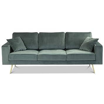 Homy Sofa 3 Sitzer Grun Stoff Samt Velvetbezug 2 Kissen Armlehnen