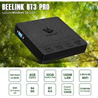 Beelink BT3 Pro Mini PC, Intel Atom x5-Z8350 Processor (2M Cache, up to 1.92 GHz) 4GB/64GB 1000Mbps LAN 2.4/5.8G Dual Band WiFi BT 4.0 Dual Screen Display with DHMI and VGA Ports Support Windows 10