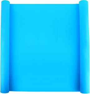 """LEOBRO 23.2"""" x 15.6"""" Oversize Silicone Mat for Crafts, Nonslip Nonstick Silicone Sheet for Jewelry Casting Mat, Heat-Resistant Craft Mat for Epoxy Resin, Glitter Slime, Paint, Sky Blue"""