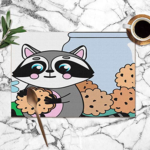 Large beach pants Placemats Set of 6,Little Cute Raccoon Cookies Paws Jar Animals Wildlife Animal The Arts Heat-Resistant Placemats Washable Table Mats for Kitchen Dining Table 12X18 Inch (Jar Raccoon Cookie)