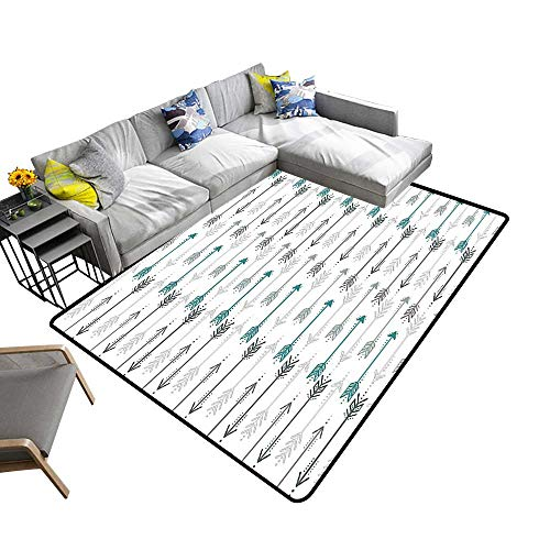 alsohome Modern Area Rug with Non-Skid Arrow Pattern Horiz tal L e to Opposite Directi Work Grey Teal Environmental Protection Fabric 5' X 7'
