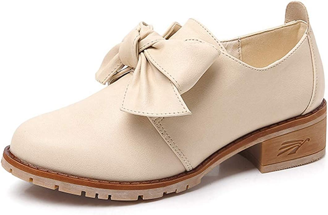 Womens Pumps Loafers Sweet Bowknot Low Heel Ladies Casual Flat Slip-on Fashion Dress Oxford Shoes